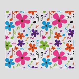 Music Flowered Design Throw Blanket