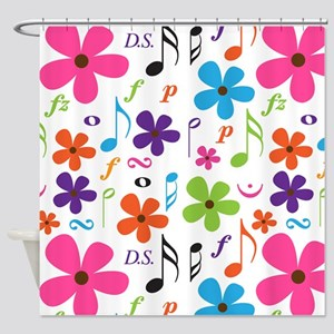 Music Flowered Design Shower Curtain