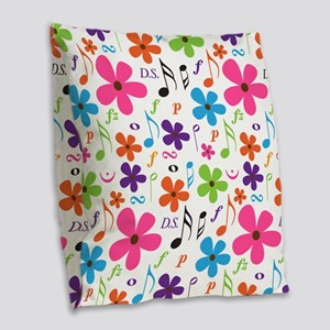 Music Flowered Design Burlap Throw Pillow