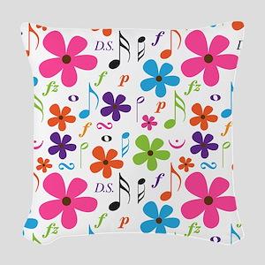 Music Flowered Design Woven Throw Pillow