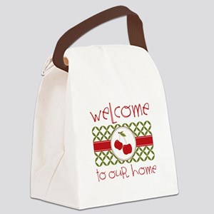 Welcome Cherries Border Canvas Lunch Bag