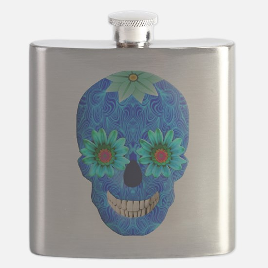 Blue Day Of The Dead Skull Flask