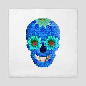 Blue Day Of The Dead Skull Queen Duvet