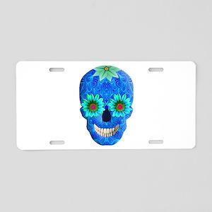 Blue Day Of The Dead Skull Aluminum License Plate