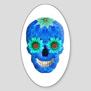 Blue Day Of The Dead Skull Sticker