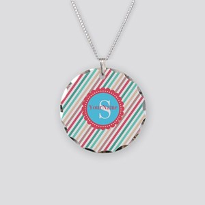Mod Stripes Personalized Necklace Circle Charm