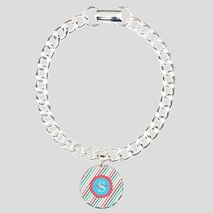 Mod Stripes Personalized Charm Bracelet, One Charm