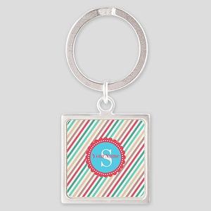 Mod Stripes Personalized Square Keychain