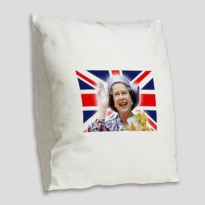 HM Queen Elizabeth II Burlap Throw Pillow