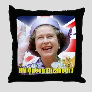HM Queen Elizabeth II Throw Pillow