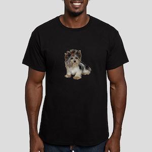 Biewer Yorkie 2 Men's Fitted T-Shirt (dark)