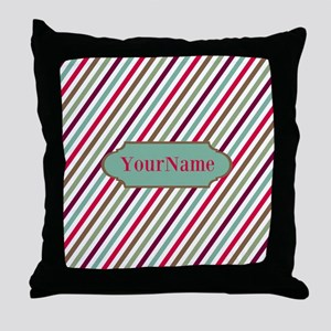 Multicolored Diagonal Striped Persona Throw Pillow
