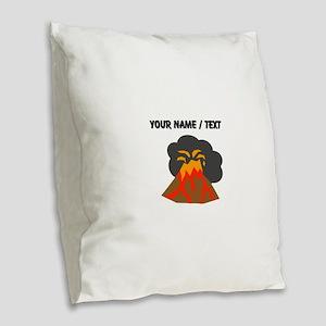 Custom Erupting Volcano Burlap Throw Pillow
