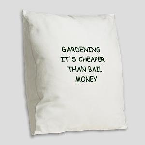 gardening Burlap Throw Pillow