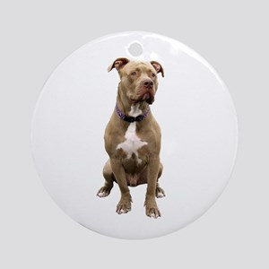 Pit Bull #1 (bw) Round Ornament