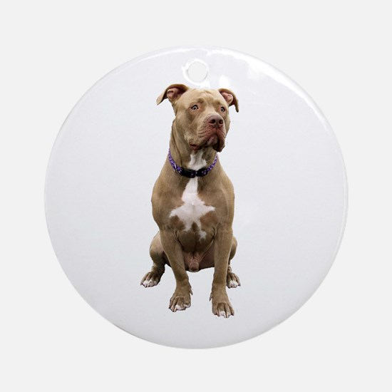 Pit Bull #1 (bw) Round Ornament