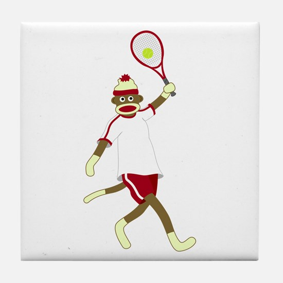 Sock Monkey Tennis Tile Coaster