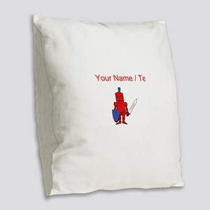 Custom Red Knight Burlap Throw Pillow