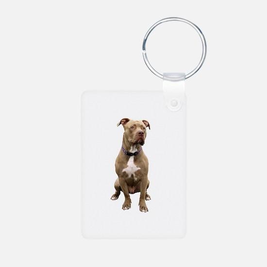 Pit Bull #1 (bw) Keychains