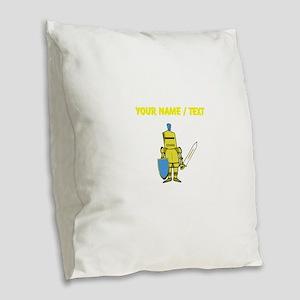 Custom Yellow Knight Burlap Throw Pillow