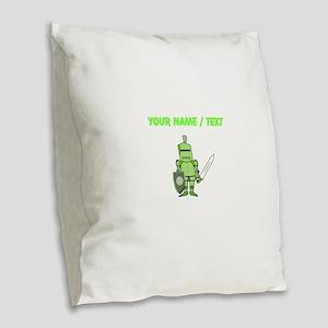 Custom Green Knight Burlap Throw Pillow