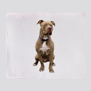 Pit Bull #1 (bw) Throw Blanket