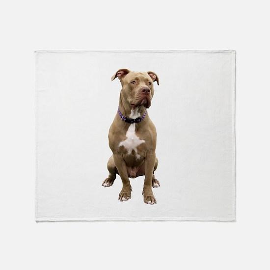 Pit Bull #1 (bw) Throw Blanket