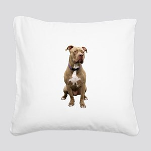 Pit Bull #1 (bw) Square Canvas Pillow