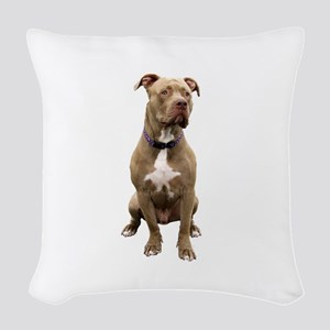 Pit Bull #1 (bw) Woven Throw Pillow
