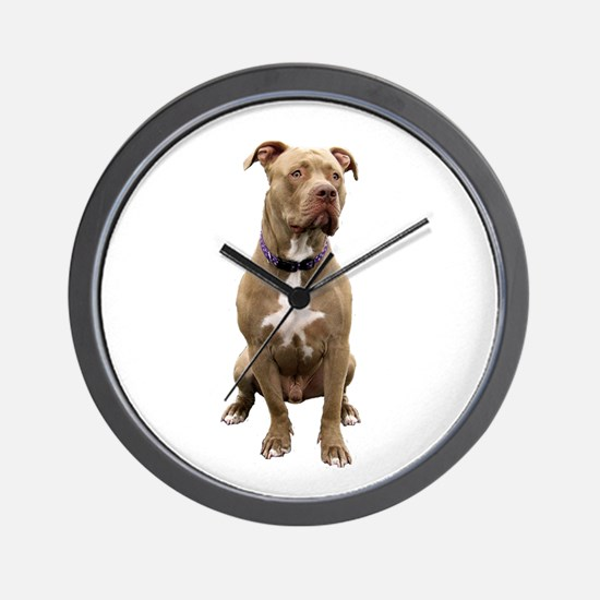 Pit Bull #1 (bw) Wall Clock