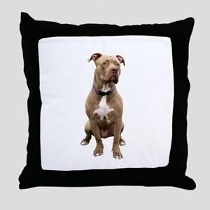 Pit Bull #1 (bw) Throw Pillow