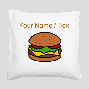 Custom Hamburger Square Canvas Pillow