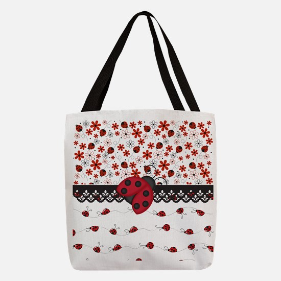 Cute Ladybugs Polyester Tote Bag