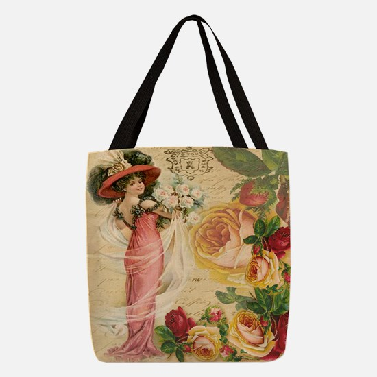 Rose Lady Polyester Tote Bag