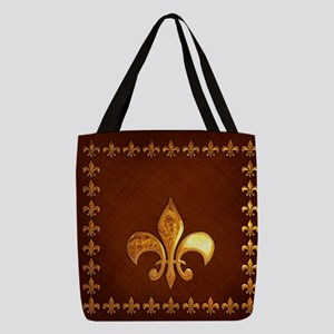 Old Leather with gold Fleur-de- Polyester Tote Bag