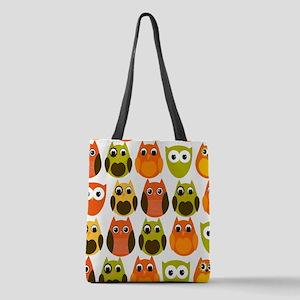 Retro Fall Owls Polyester Tote Bag