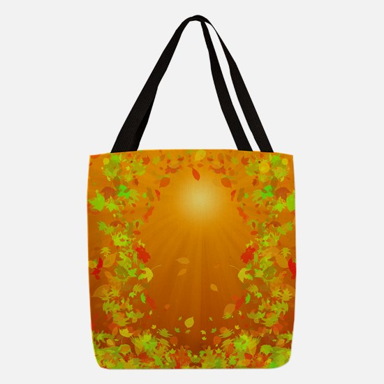 Falling Leaves at Sunset Polyester Tote Bag