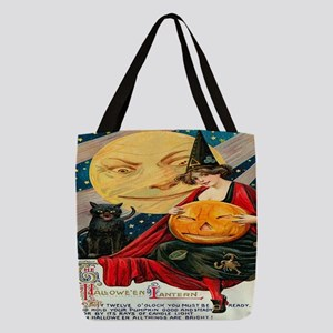 Vintage Halloween Witch Black C Polyester Tote Bag