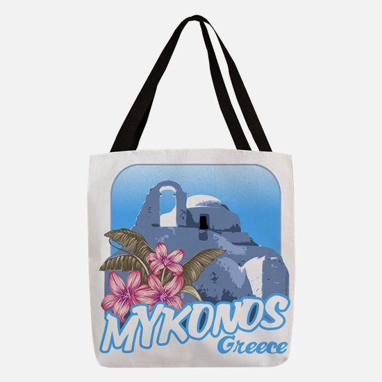 mykonos_t_shirt_paraportiani Polyester Tote Bag
