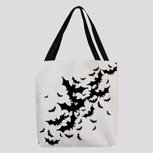 bats-many_bl Polyester Tote Bag