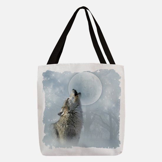 Wolf Blue Moon Polyester Tote Bag