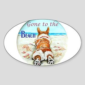 Corgi Beach Sticker