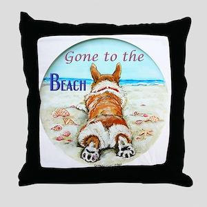 Corgi Beach Throw Pillow