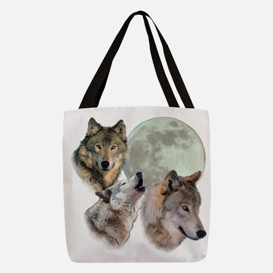 3 Wolf Moon Polyester Tote Bag