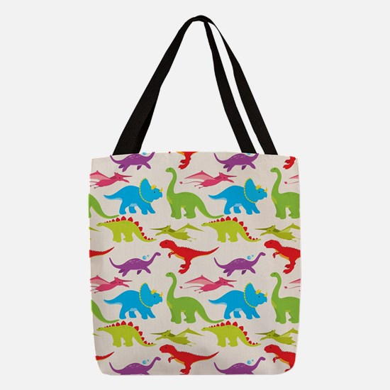 Cool Colorful Kids Dinosaur Pat Polyester Tote Bag