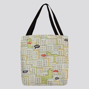 Monsters Attack City Polyester Tote Bag