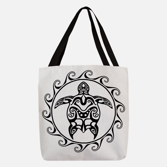 Black Tribal Turtle Sun Polyester Tote Bag