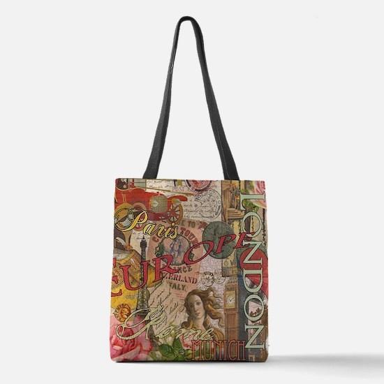 European Travel Vintage London  Polyester Tote Bag