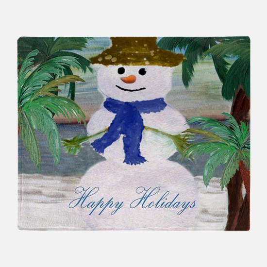 Tropical Snowman art Throw Blanket