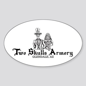 Two Skulls Logo Oval Sticker